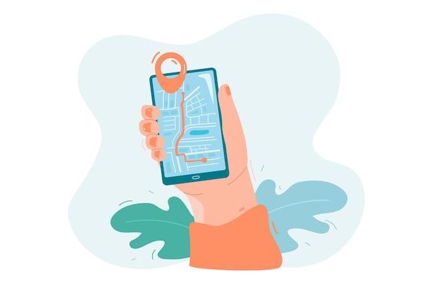 화면에 위치 지도가 있는 휴대 전화를 들고 있는 손 기술 관광 여행 개념