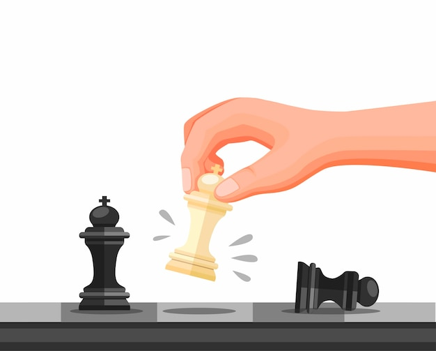 Hand holding chess piece, chess strategy game checkmate symbol. concept in cartoon illustration   isolated in white background