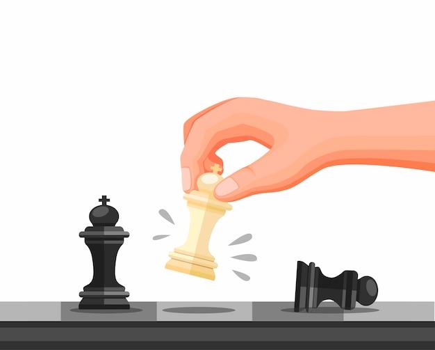 チェスの駒、チェス戦略ゲームチェックメイトシンボルを持っている手。白い背景で分離された漫画イラストのコンセプト