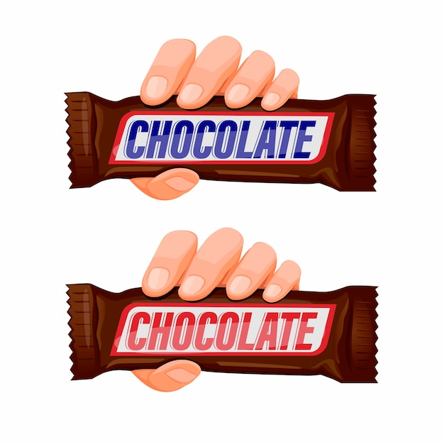 白い背景の漫画イラストのチョコレートスナックバーアイコンセットの概念を持っている手