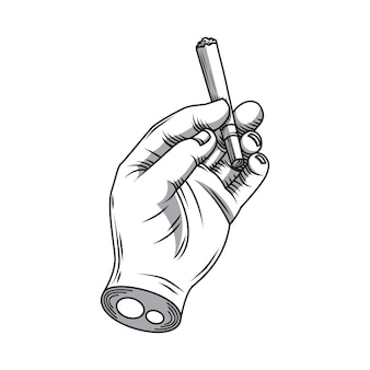 Hand holding a cigarette hand drawing
