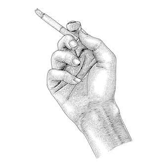 Hand holding cigarette,smoking cigarette drawing vintage style