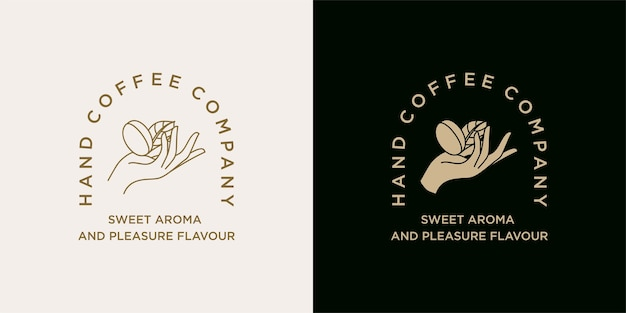 Hand holding coffee bean logo illustration template for coffee shop  cafe beverages brand