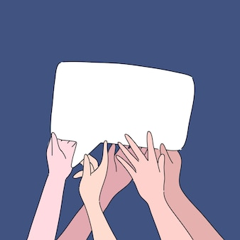 Hand holding comment box illustration