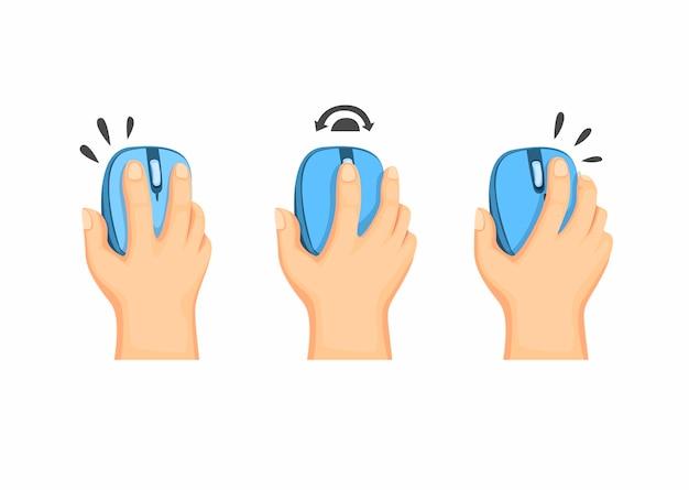 コンピューターのマウス、白い背景の上の漫画イラストのワイヤレスマウスガイド命令記号を持っている手