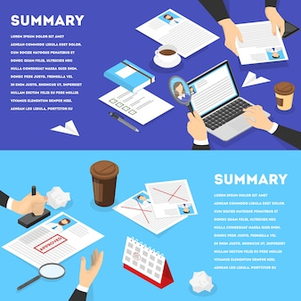 Hand holding cv profiles banner set. hr manager making resume examination. looking for job candidate to hire. approved stamp on the resume. vector isometric illustration