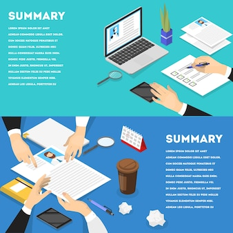 Hand holding cv profiles horizontal banner set. hr manager making resume examination. looking for job candidate to hire. idea of recruitment. isometric illustration