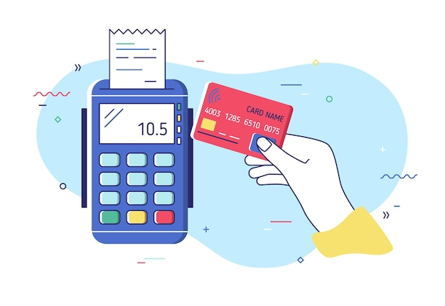 Hand holding debit or credit card, waving it over electronic terminal or reader and paying or purchasing