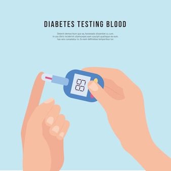 Hand holding diabetic blood testing device or glucose meter
