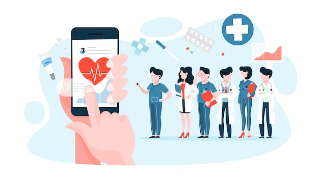 デジタルデバイスを持っている手と健康をチェック