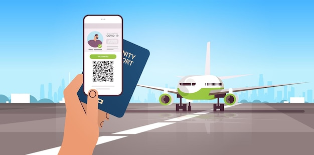 飛行機のコロナウイルス免疫概念水平ベクトル図の近くにデジタル予防接種証明書とグローバル免疫パスポートを持っている手