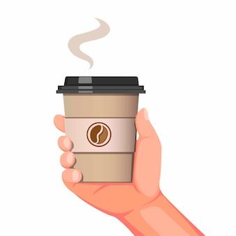 白い背景で分離された漫画のリアルなイラストでコーヒードリンクカフェ製品の使い捨てのコーヒーカップのシンボルを持っている手
