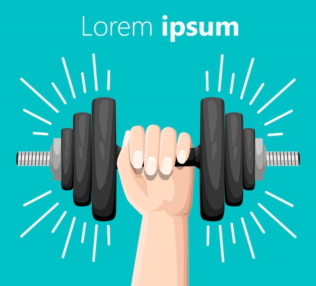 Hand holding a dumbbell. bent dumbbells  on turquoise. sport equipment, weight lifting, exercise, strength and gym concept.  style.  illustration