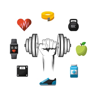 Hand holding a dumbbell and healthy lifestyle concept icons