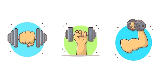 Hand holding dumbbell icon illustration
