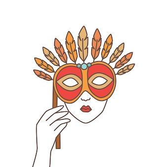 エレガントなお祝いマスクを持って、白い背景で隔離の顔を覆っている手。ベネチアンカーニバル、マルディグラパーティー、仮面舞踏会の不思議な装飾。現代の線形ベクトル図。
