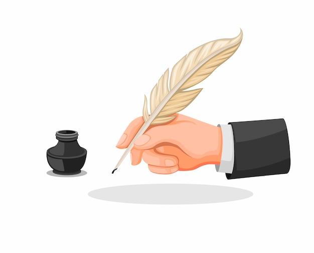 손을 잡고 깃털 펜 및 잉크 음 기호 아이콘은 흰색 배경에서 격리하는 만화 그림에서 설정