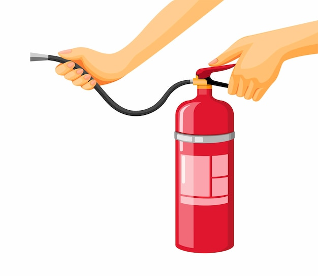 Hand holding fire extinguisher emergency tool in cartoon illustration vector isolated