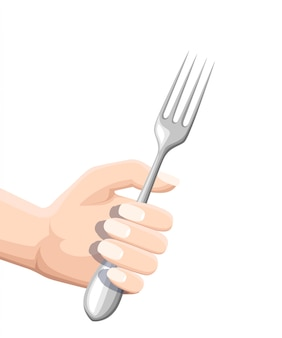 Hand holding a fork. stainless kitchen utensil. flat illustration isolated on white background. colored icon for restaurant menu or cafe.