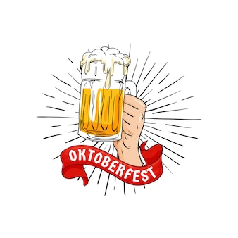 Hand holding full glass of beer illustration with ribbon