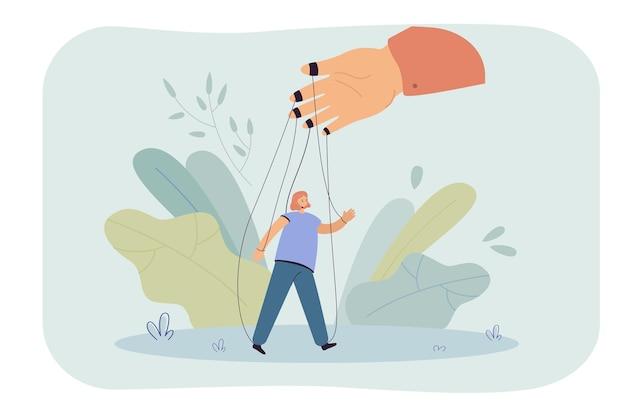 Hand holding girl on strings flat illustration