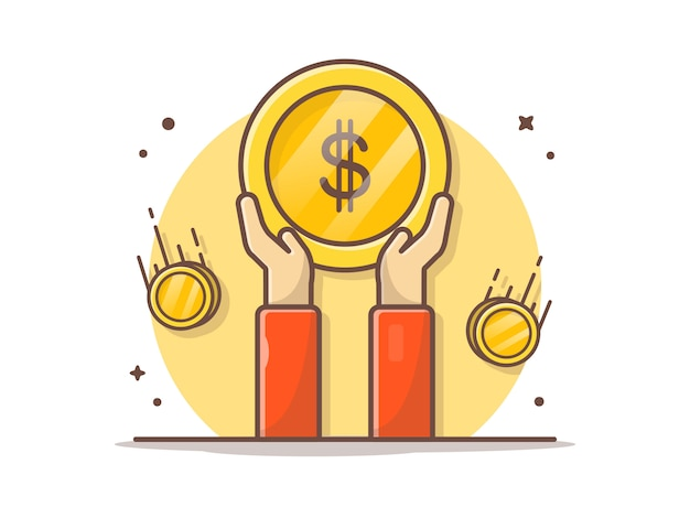 Hand holding gold coin vector clipart illustration
