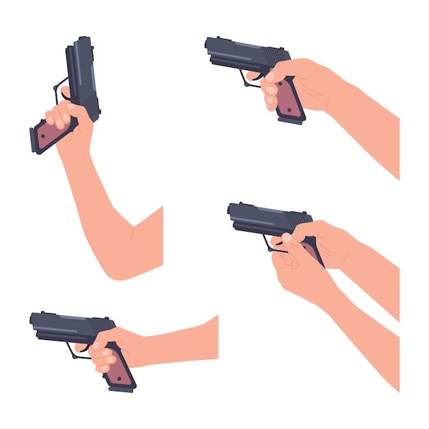Рука пистолет векторный мультфильм набор, изолированные на белом фоне.