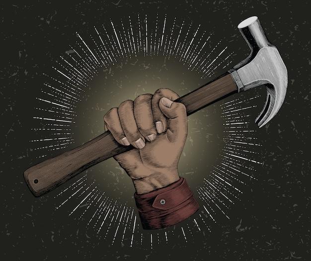 Hand holding hammer illustration vintage for carpenter logo