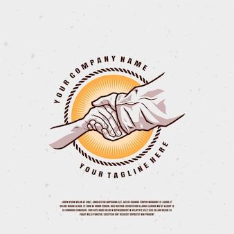 Рука держит руку логотип иллюстрации