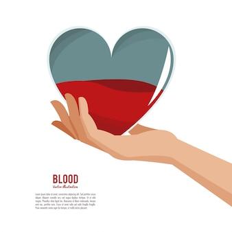 Рука, держащая кровь сердца