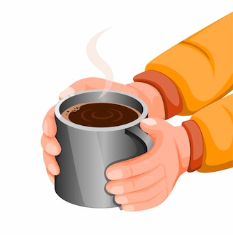 Hand holding hot chocolate or coffee in stainless steel mug, hot drink for stay warm in cold weather or camping activity. concept illustration in cartoon style  isolated in white background