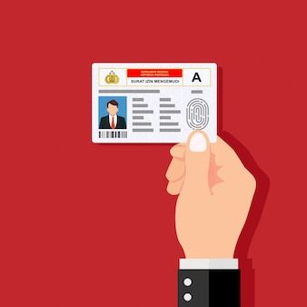 Hand holding the id card. vector illustration flat design.