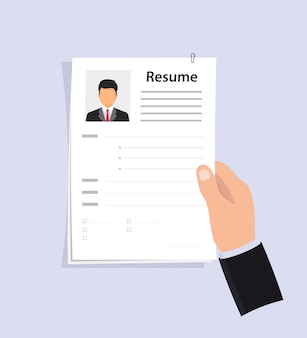 Hand holding job application. cv papers. human resources management concept, searching professional staff, analyzing resume papers, work. selecting staff. business resume.searching professional staff