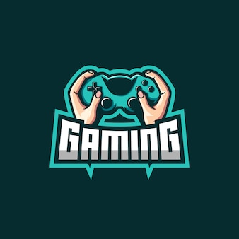 Hand holding jostick awesome logo for gaming squad