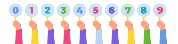 Hand holding judges marks. competition scores or feedback. voting  concept. . vector illustration