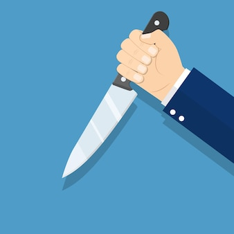 Hand holding knife, illustration in flat style