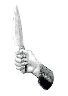 Hand holding knife illustration vintage isolated on white background