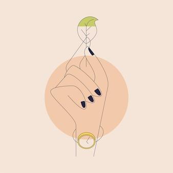 葉を持っている手。アウトラインスタイルのベクトル構成