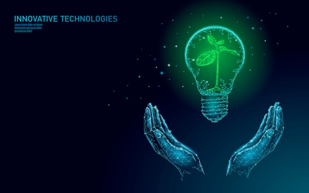Hand holding light bulb lamp saving energy ecology concept. polygonal blue sprout small plant seedling inside electricity green energy power  illustration
