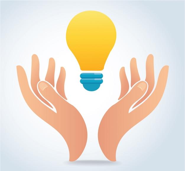 Hand holding light bulb vector