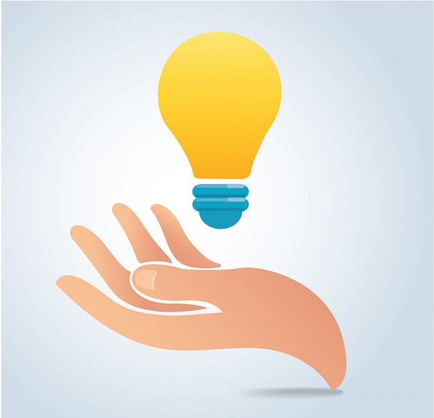 Hand holding light bulb vector