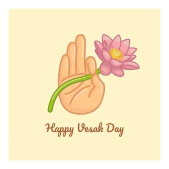 Hand holding lotus vesak day greeting poster