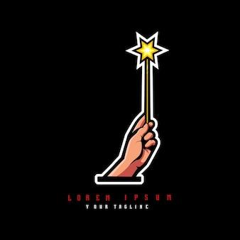 Рука волшебная палочка дизайн логотипа вектор иллюстрация