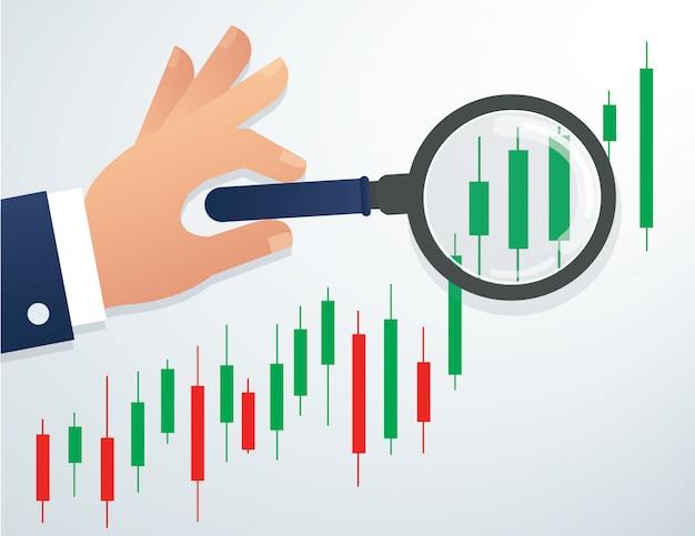虫眼鏡と株式市場のチャートを持っている手