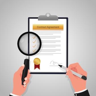 Рука увеличительное стекло для обзора и подписания концепции формы документа соглашения о контракте. деловые сделки
