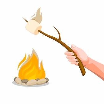 たき火でマシュマロローストを持っている手。白い背景で分離されたコンセプト漫画イラスト