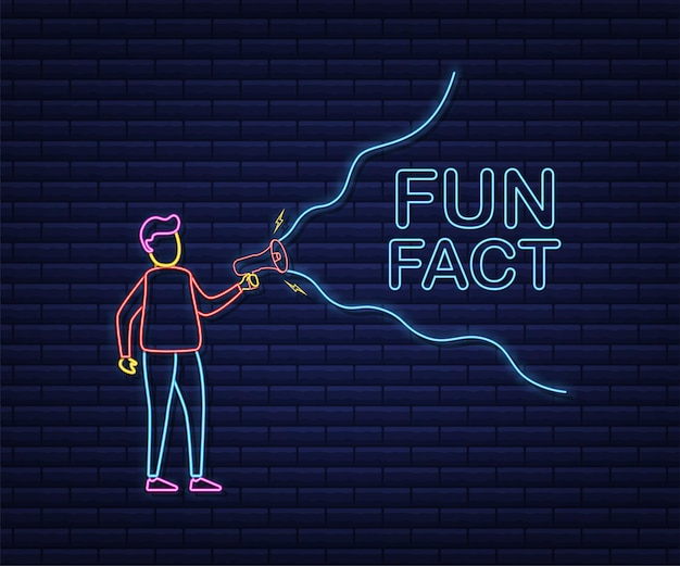 Hand holding megaphone - fun fact. neon icon. vector stock illustration.