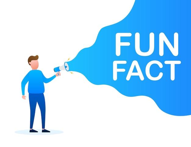 Hand holding megaphone - fun fact. vector stock illustration