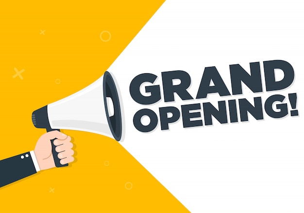 Hand holding megaphone - grand reopening, vector illustration