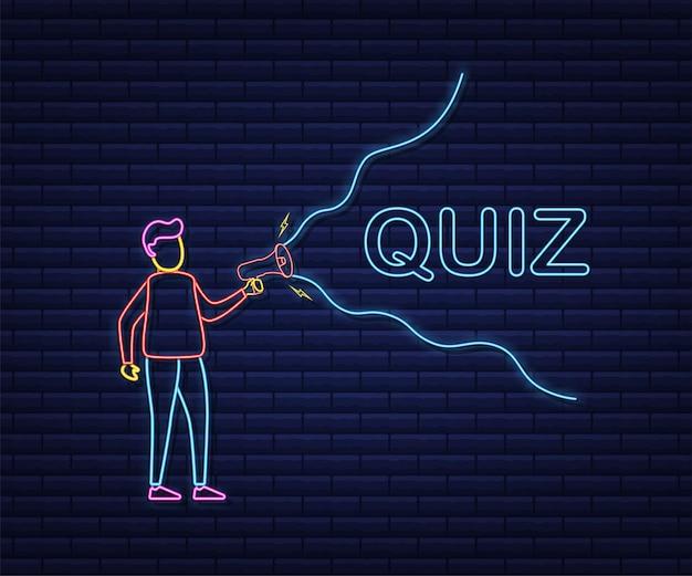 Hand holding megaphone - quiz. neon icon. vector stock illustration.